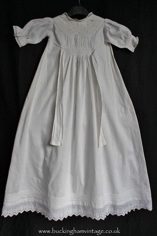 Antique Baby Dress With Lace White Cotton 1900s