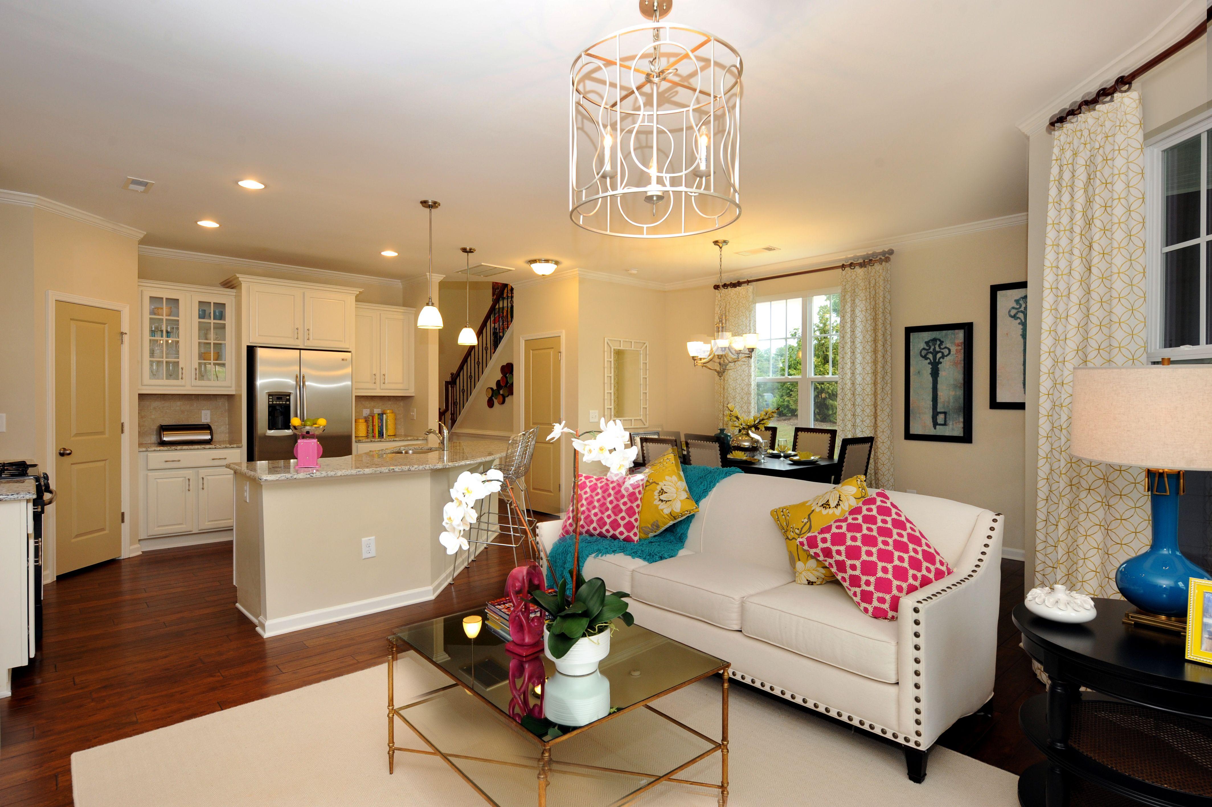 Austin family room to kitchen 55 james townhome apex