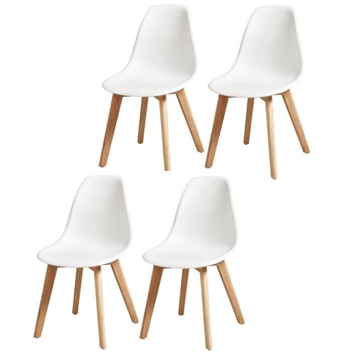 SACHA Lot of 4 white dining chairs - Legs in solid rubberwood - Scandinavian - L 48 x D 55 cm#chairs #dining #legs #lot #rubberwood #sacha #scandinavian #solid #white