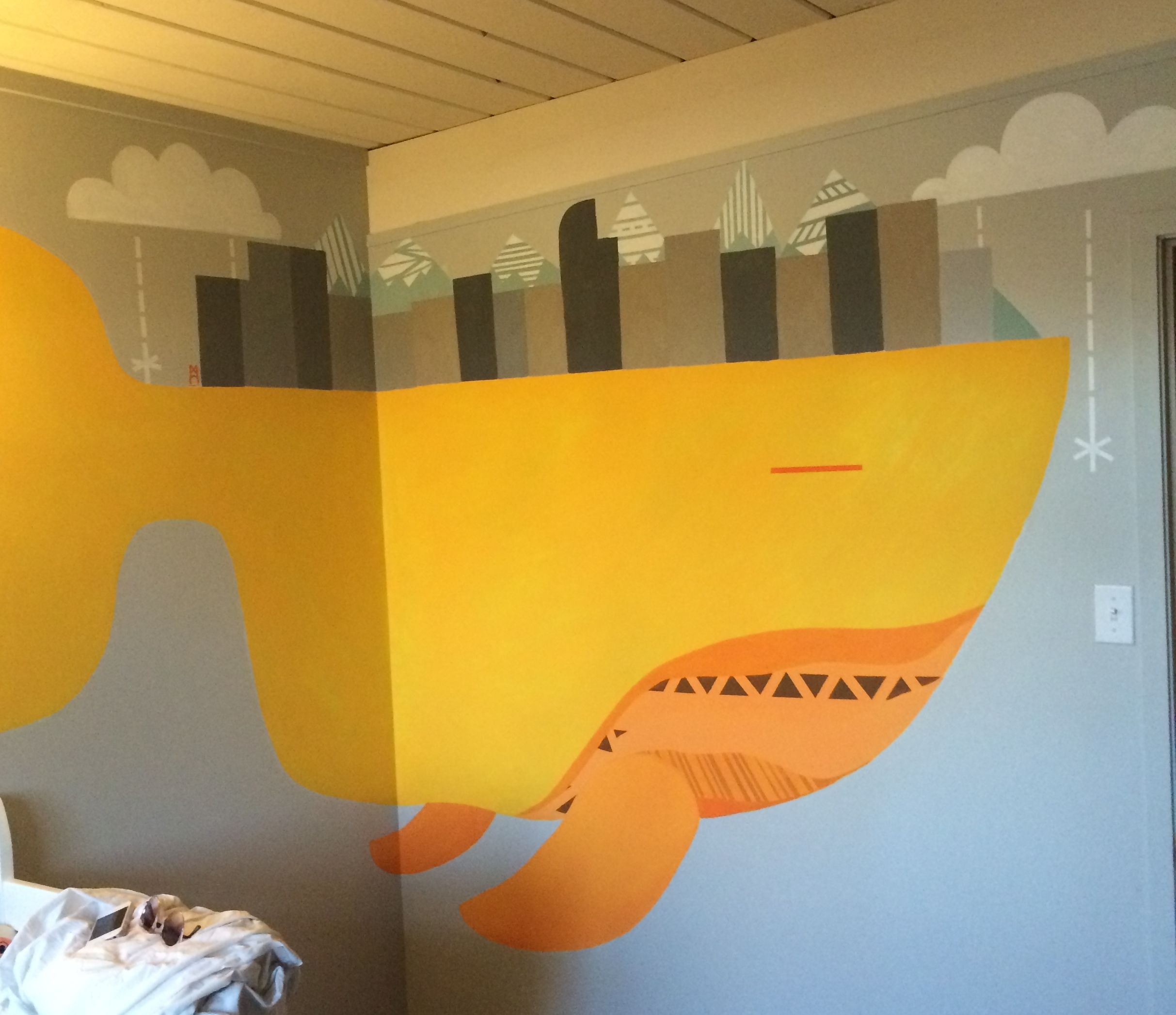 my tribal city whale for @Valerie Avlo Beck for her tangerine and charcoal inspired baby's nursery.  #grey # orange #babynursery #denver #colorado