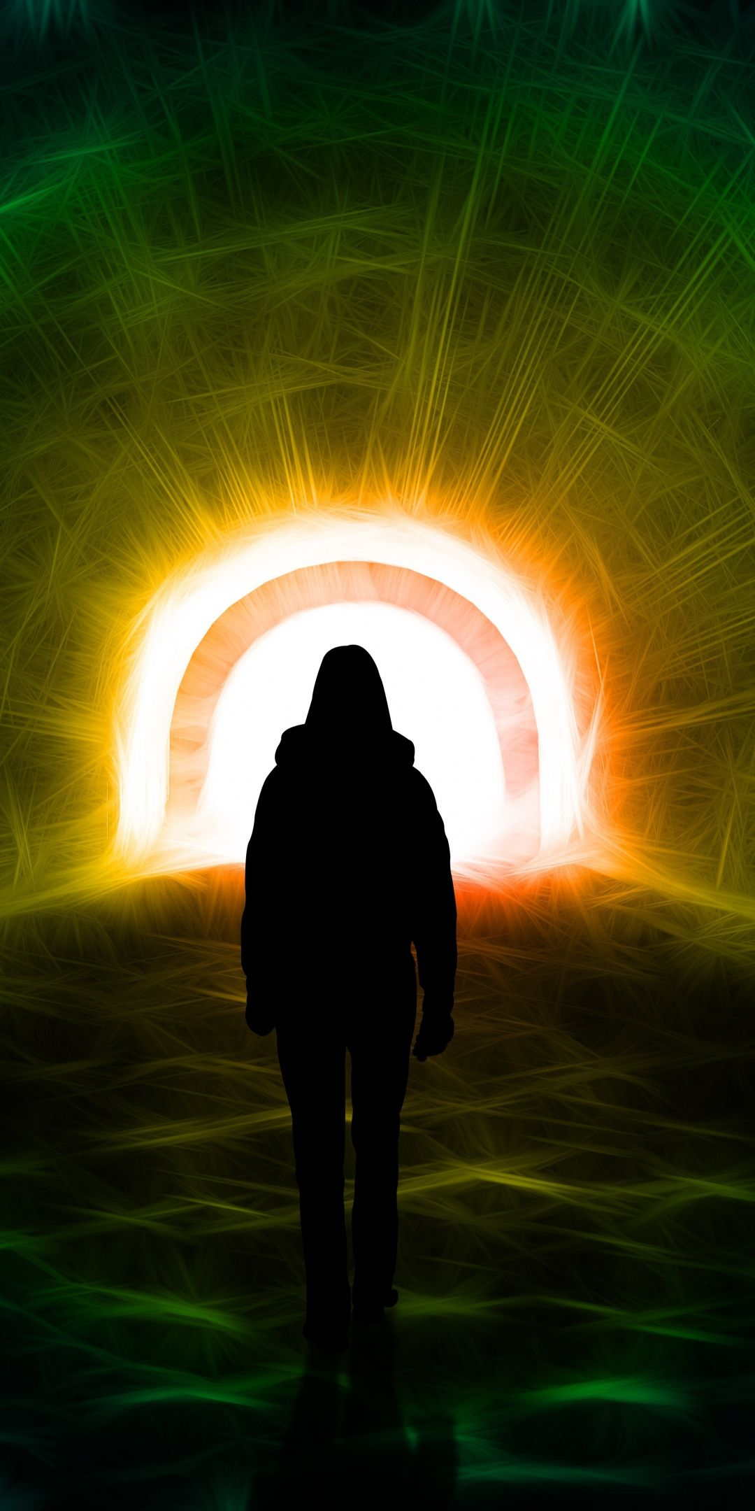 Light Tunnel Man In Hoodie Silhouette 1080x2160 Wallpaper Silhouette Wallpaper Light Tunnel