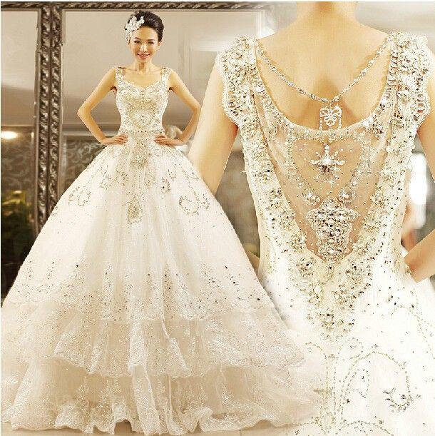 Luxury Wedding Dress 2015 Ball Gown Spaghetti Sweetheart Crystal Rhinestone Floor length Wedding Gown Fast Ship-in Wedding Dresses from Weddings & Events on Aliexpress.com   Alibaba Group
