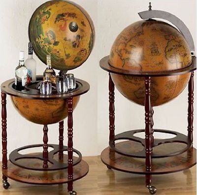 Antique bar globe drink cabinet beverage wine retro trolley 16th ancient world globe map drinks cabinet bottle holder gumiabroncs Image collections