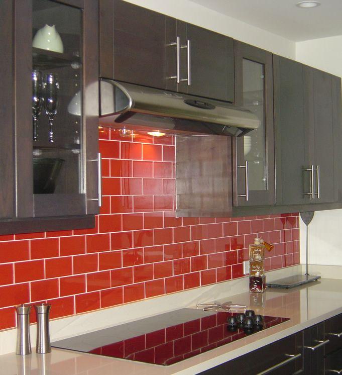 RED HOT Subway Glass Tile 3x6 Crimson TideRed Backsplash Tile to