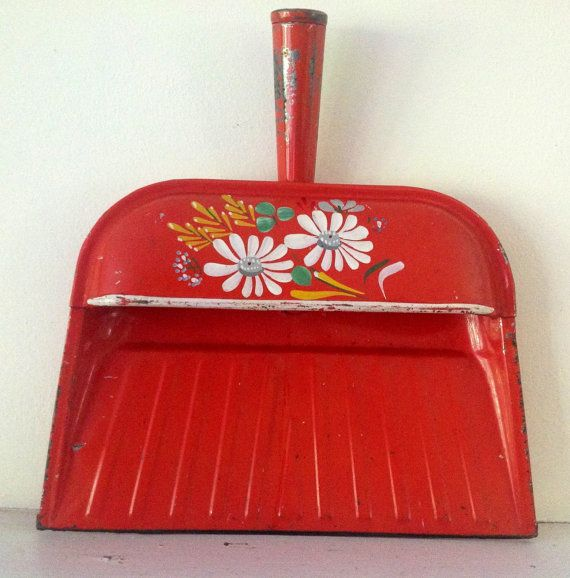 Vintage Ransburg Dust Pan, Red Orange, Kitchen Bouquet