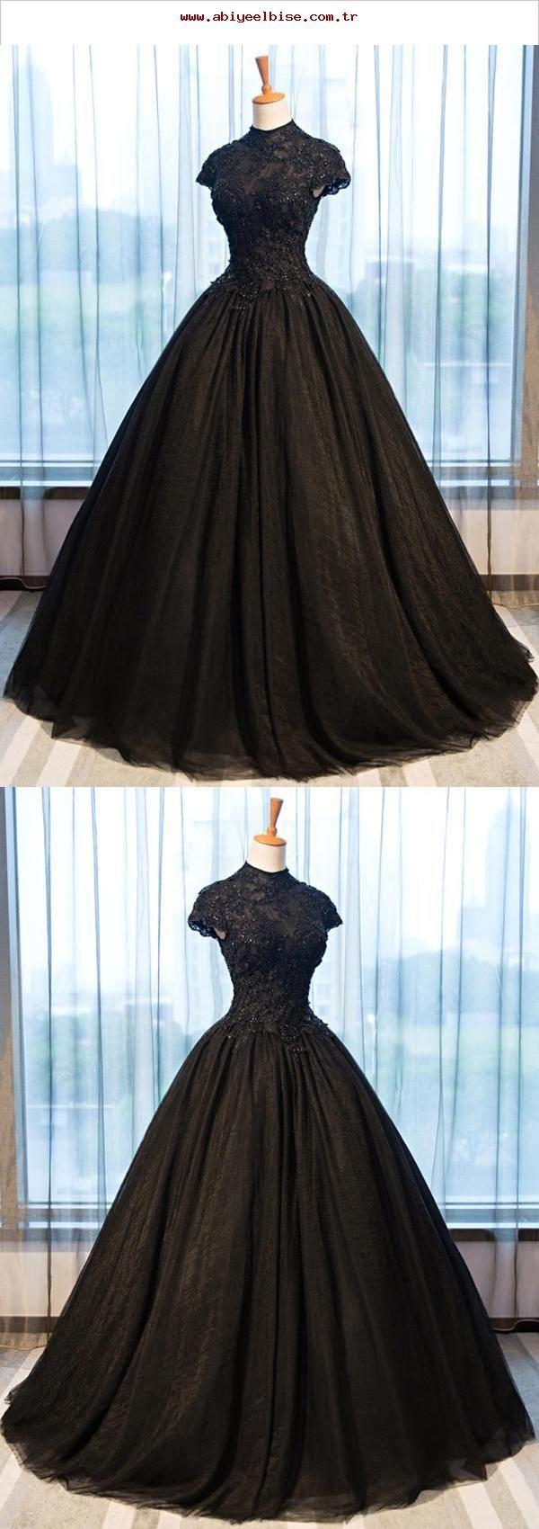 Schwarze Abendkleider, Open-Back-Abendkleid, High Neck-Abendkleid