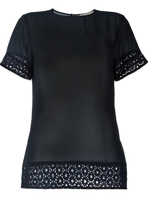 MICHAEL MICHAEL KORS Broderie Anglaise Trim Blouse. #michaelmichaelkors #cloth #blouse