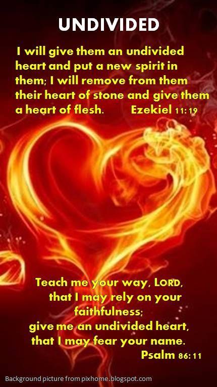 AN UNDIVIDED HEART FOR GOD ~ Ezekiel 11:19, Psalm 86:11 ...