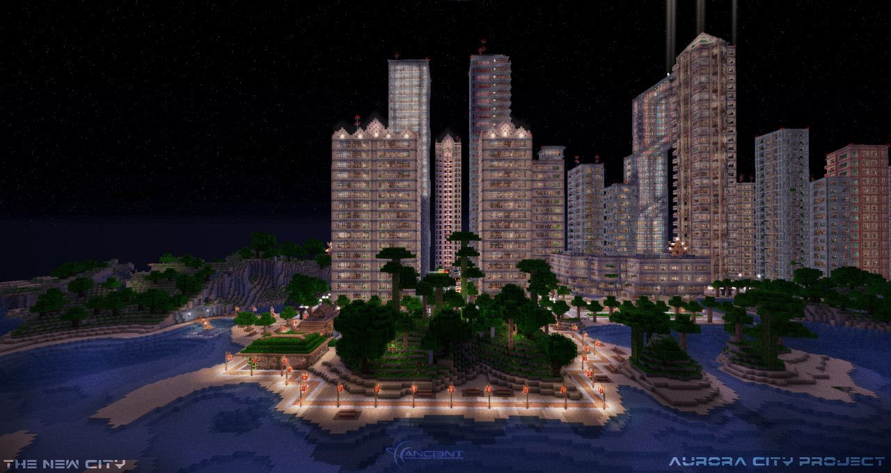 Lovely The Aurora City Project By AncientTM From A Skyline View Shows One Of The  Best Minecraft Good Looking