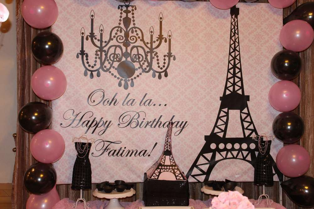Parisian French Paris Pink Pink And Black Birthday