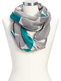Women's Polka-Dot Gauze Infinity Scarves