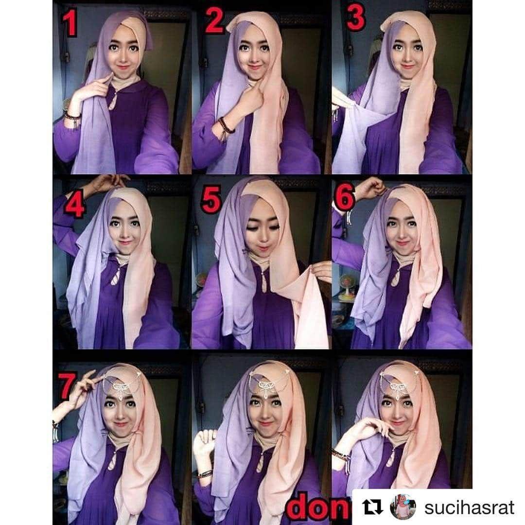 Tutorial Hijab Pesta Segi Empat Dua Warna Kursus Hijab Warna Kerudung