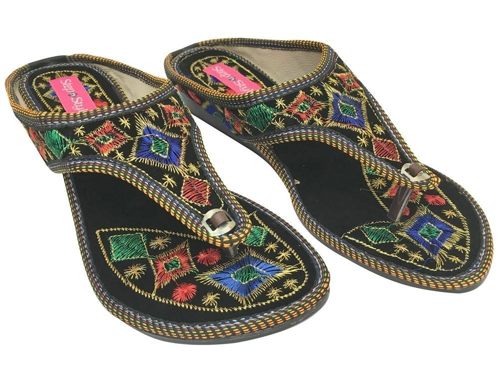 Women Flat Sandals Slippers Khussa Shoes Punjabi Jutti Bridal Slipon
