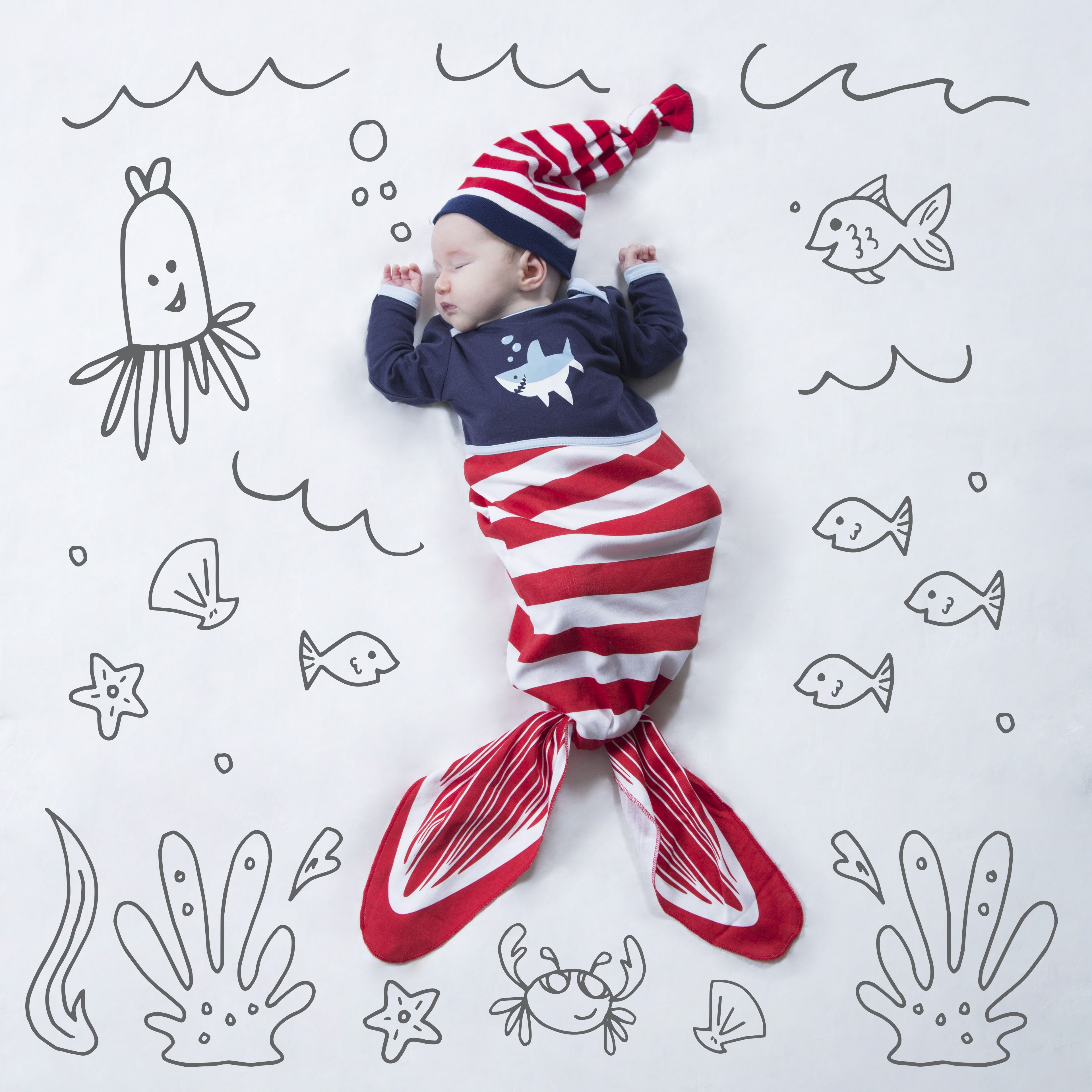 83dc02610 Red and Navy Shark - 0-9 Months Knotted Onesie   Izzy & Owie ...