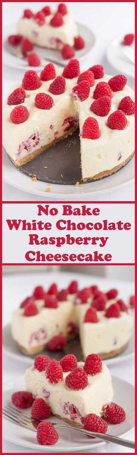 White Chocolate and Raspberry Cheesecake – Easy To Make Dessert #whitechocolateraspberrycheesecake