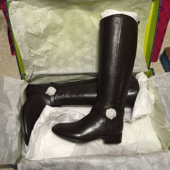 Tory Burch Bristol Riding Boots Coconut (Dk Brown)