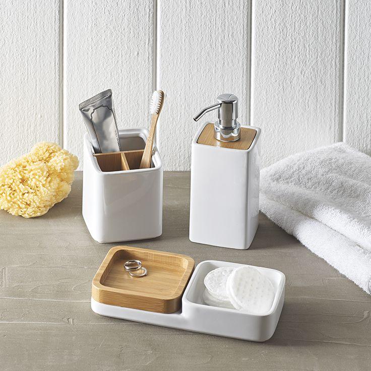 Ceramic And Wood Bath Accessories