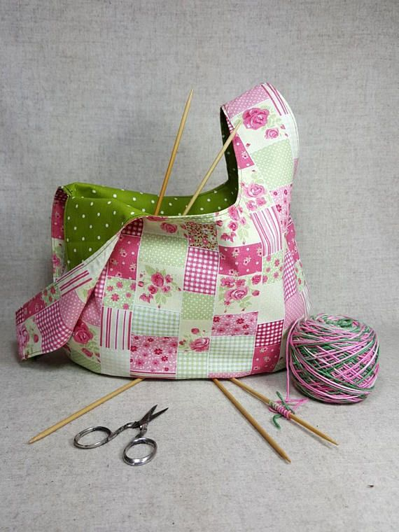 Knitting Project Bag, pink and green with roses, 2 sizes