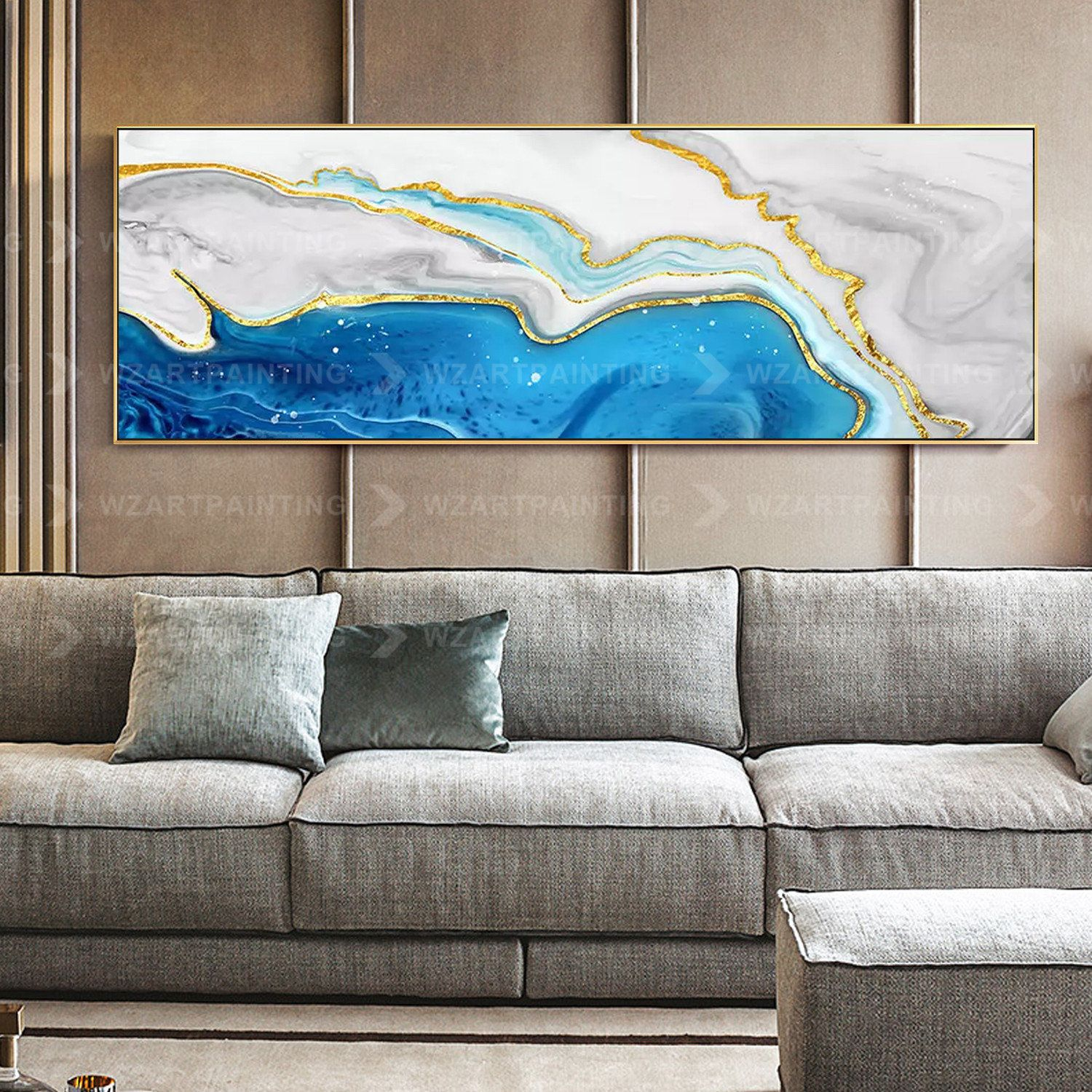 Gold Blue Sea Abstract Print Acrylic Print On Canvas Art Ready To Hang Framed Painting Wall Art Pictures Home Dec Canvas Prints Wall Art Pictures Gold Wall Art