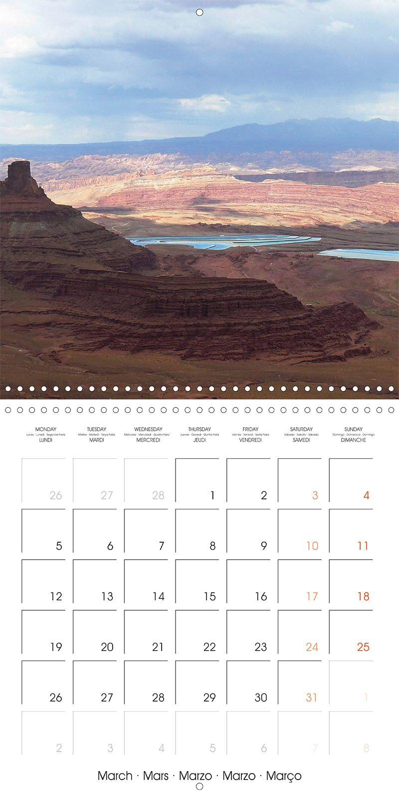 """Reisekalender mit Planer """"Hiking on the Colorado Plateau"""", Kalenderblatt März: Dead Horse Point, Rim Trail"""