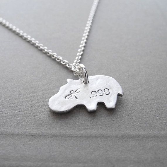 Tiny Hippo Necklace Flowered Baby Hippo Fine Silver by Dragonfly65 #babyhippo