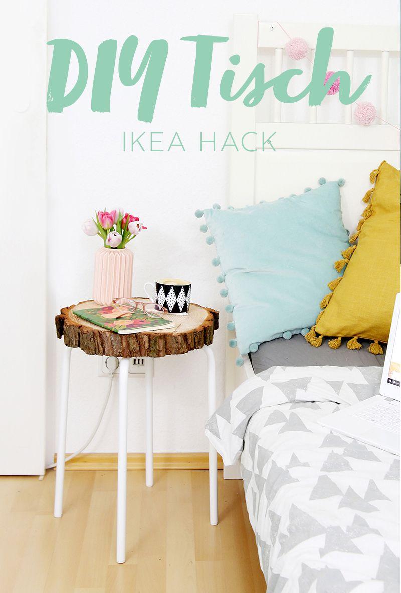 diy beistelltisch aus baumscheibe und ikea hocker deutsche diy blogger selbstgemachtes und. Black Bedroom Furniture Sets. Home Design Ideas
