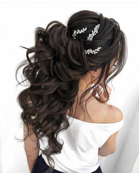 Bridal hair pins-Wedding hair pins-Pearl hair pins-Crystal hair pins- Hair pins bridal - Set of 2 pearl hair pins-Gold bridal hair pins