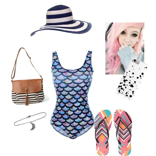 Pool Party by tapping-raven on Polyvore featuring polyvore fashion style Havaianas maurices ADORNIA