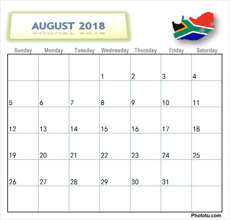 Calendar For August 2018 South Africa Blank August 2018 Calendar