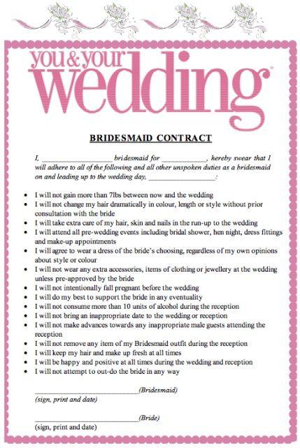 bridesmaids contract funny - Google Search Bridesmaids - wedding contract