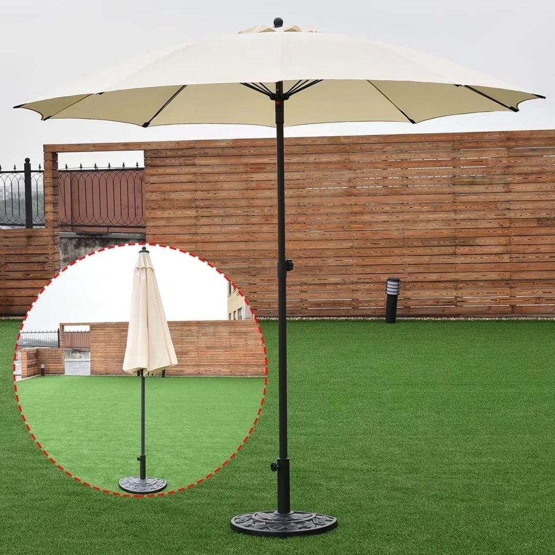 8.2Ft Adjustable Outdoor Patio Umbrella Market Sun Shade Beech Beige, Size 8  Ft