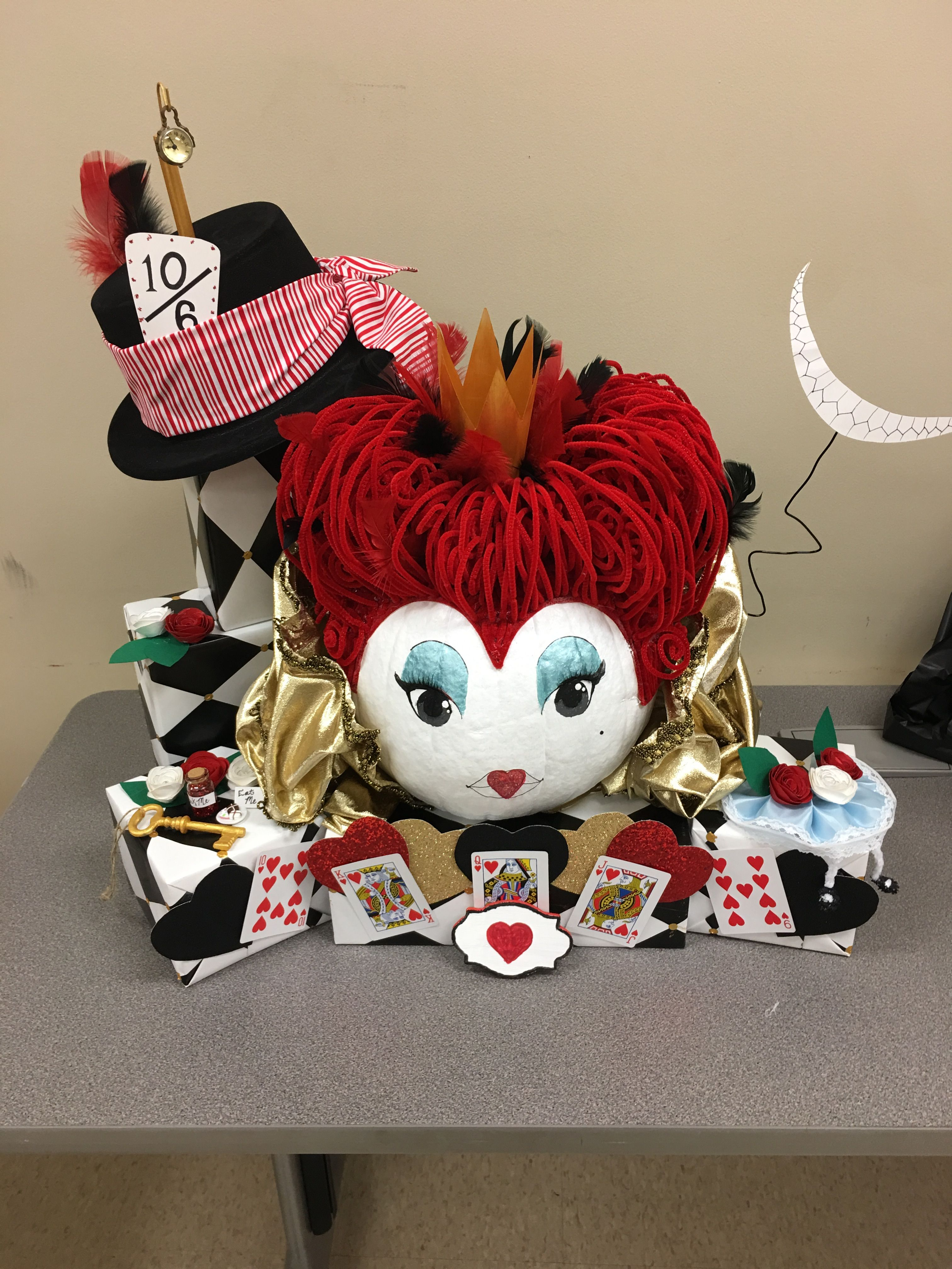 Queen of Hearts pumpkin design. Group effort at work for our annual pumpkin design contest.