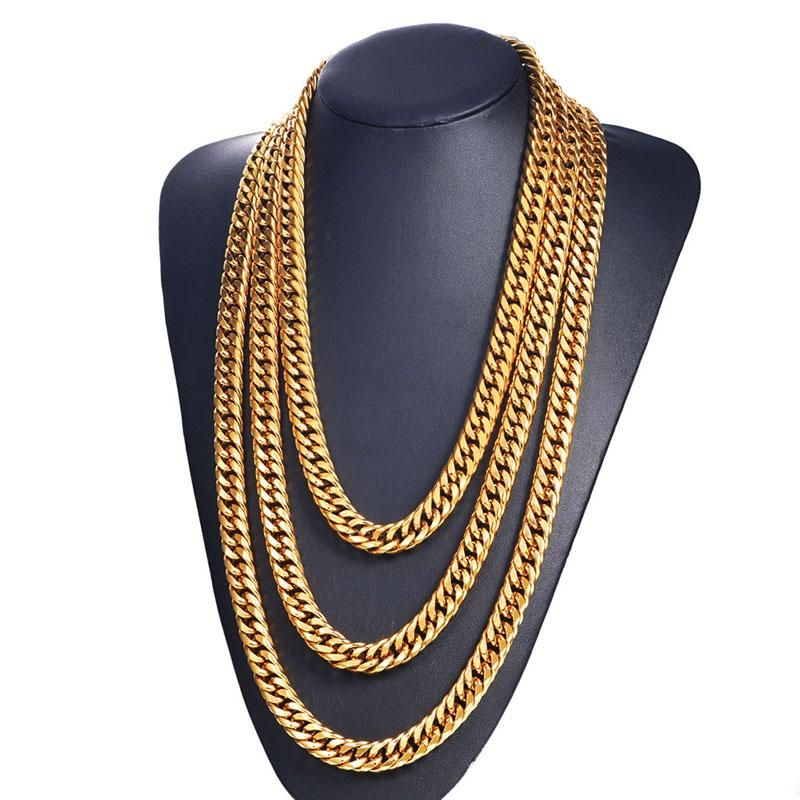 adbe8e223bbca 13MM Big Chunky HipHop Gold Chain For Men 18K Gold Plated Thick ...