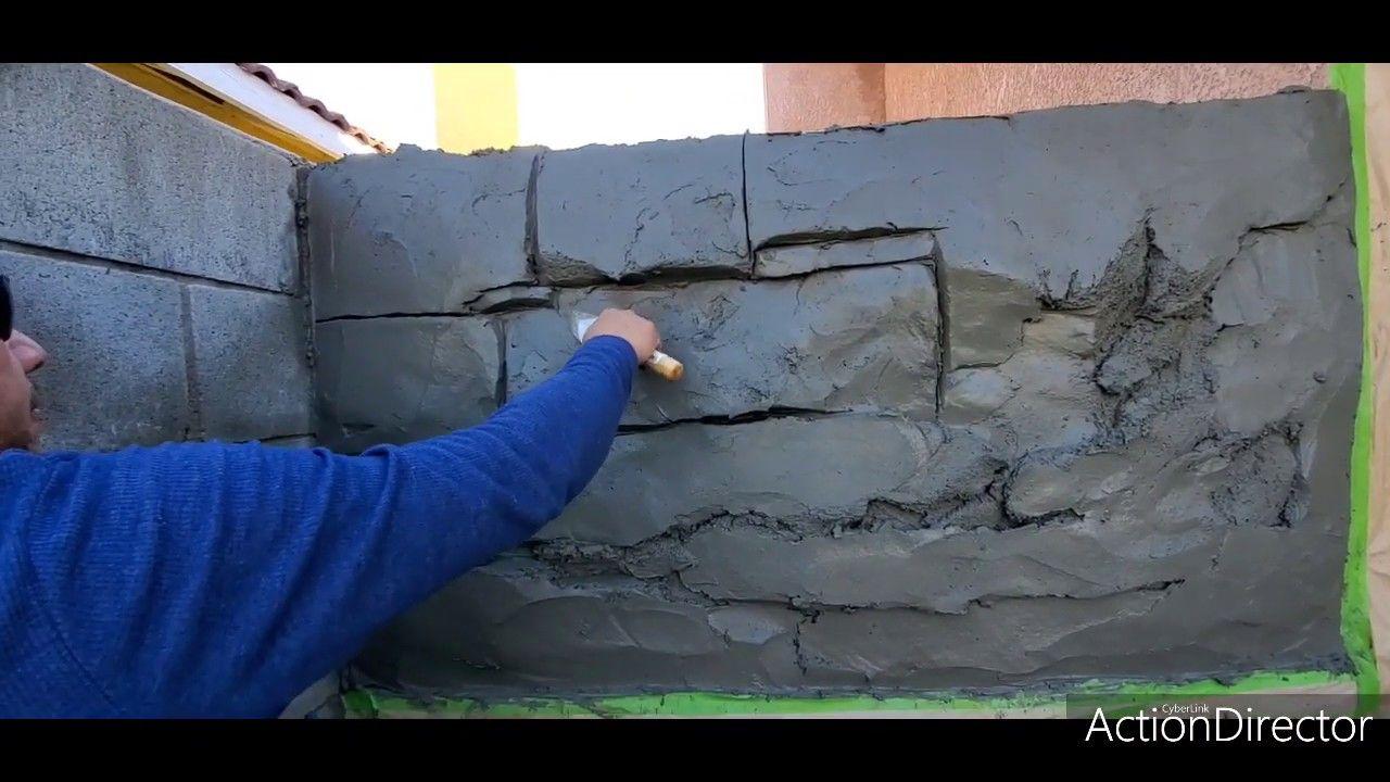 Cómo Hacer Bloques Con Realce Y Textura De Escoba Cemento Decorativo Trabajos De Albañileria Mural De Jardín