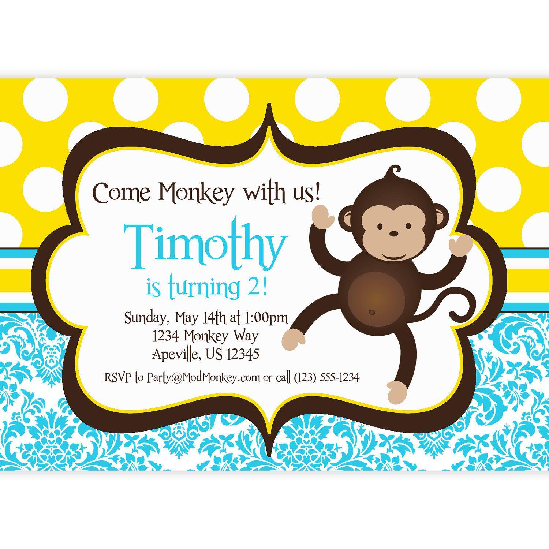 monkey invitations monkey birthday