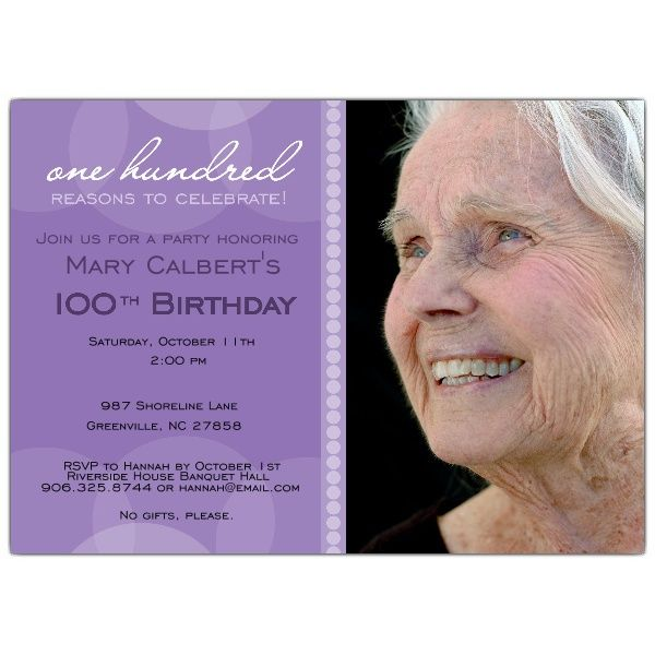 Lavender Circle Photo 100th Birthday Invitations Birthday Invitations 100th Birthday Party Birthday Party Invitation Templates