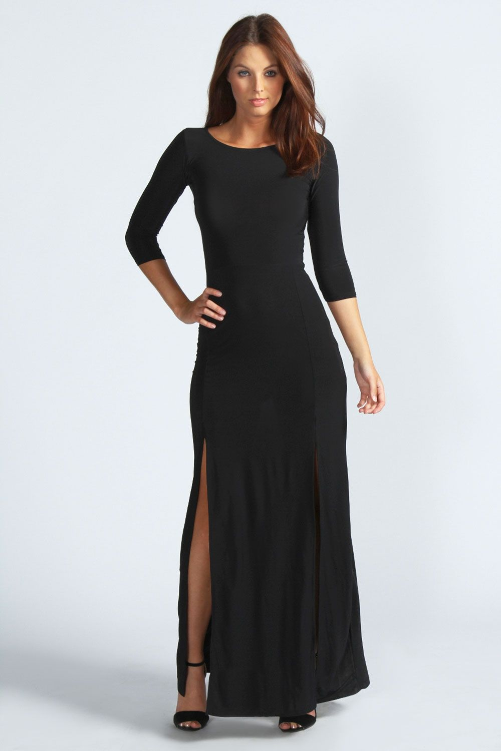 Images of Long Black Maxi Dress With Sleeves - Reikian