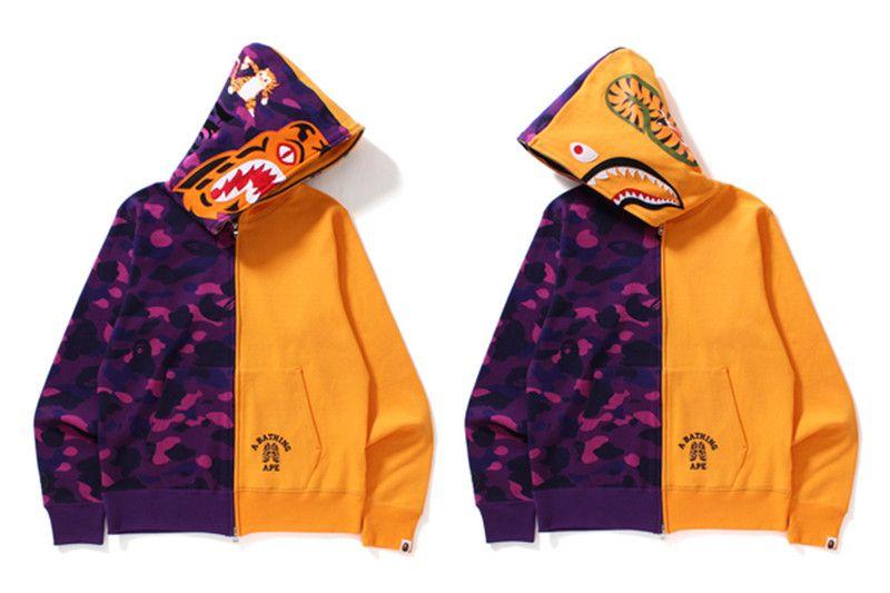 1626a16cd17a Bape Camo Shark Tiger Hoodie free shipping