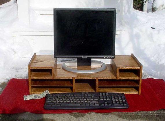 Oak Desk Computer Organizer Monitor Stand Riser Corner Desk