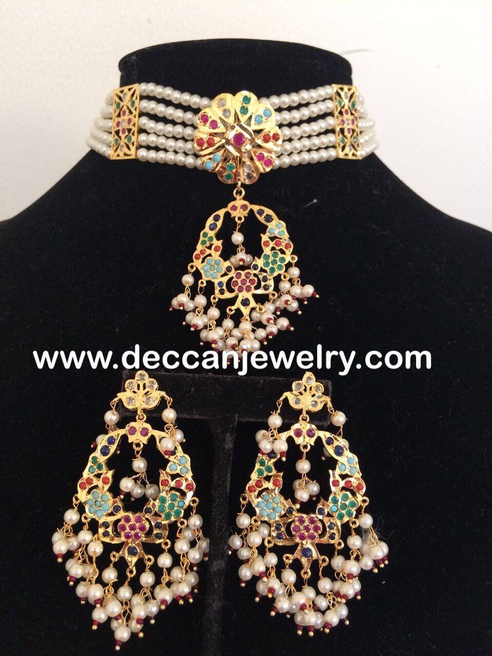 Madhuri navratan jadau choker earrings set in hyderabadi style