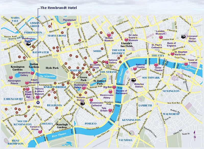 London City Area Map.Hotel Rembrandt Location London Map London Uk London Central