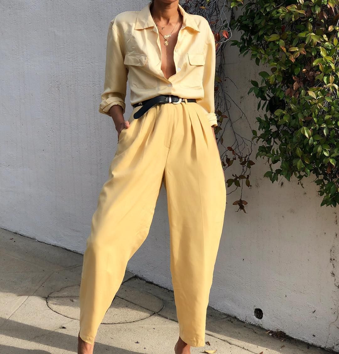 """067130c1b83a Elia Vintage on Instagram  """"Butter silk high waisted pleated trousers. Size  28 waist- also looks amazing on smaller frames  78 PANTS SOLD Pale yellow  silk ..."""