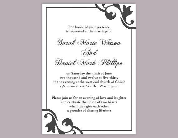DIY Wedding Invitation Template Editable Editable Word File - invitations word template