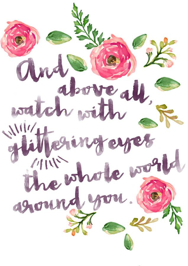 Typographic Quote Floral Wall Art Print | words | Quotes ...