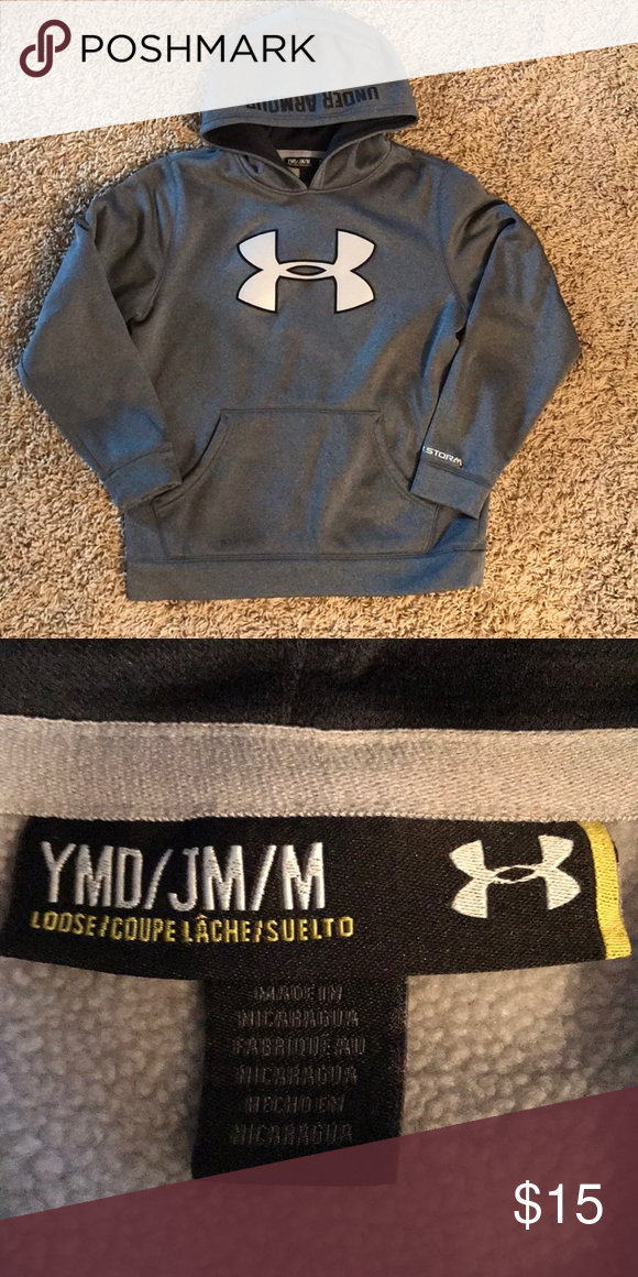 5472e2d8c737 UA hoodie-Size YM Boy s gray and black hoodie in like new condition. Under  Armour Shirts   Tops Sweatshirts   Hoodies