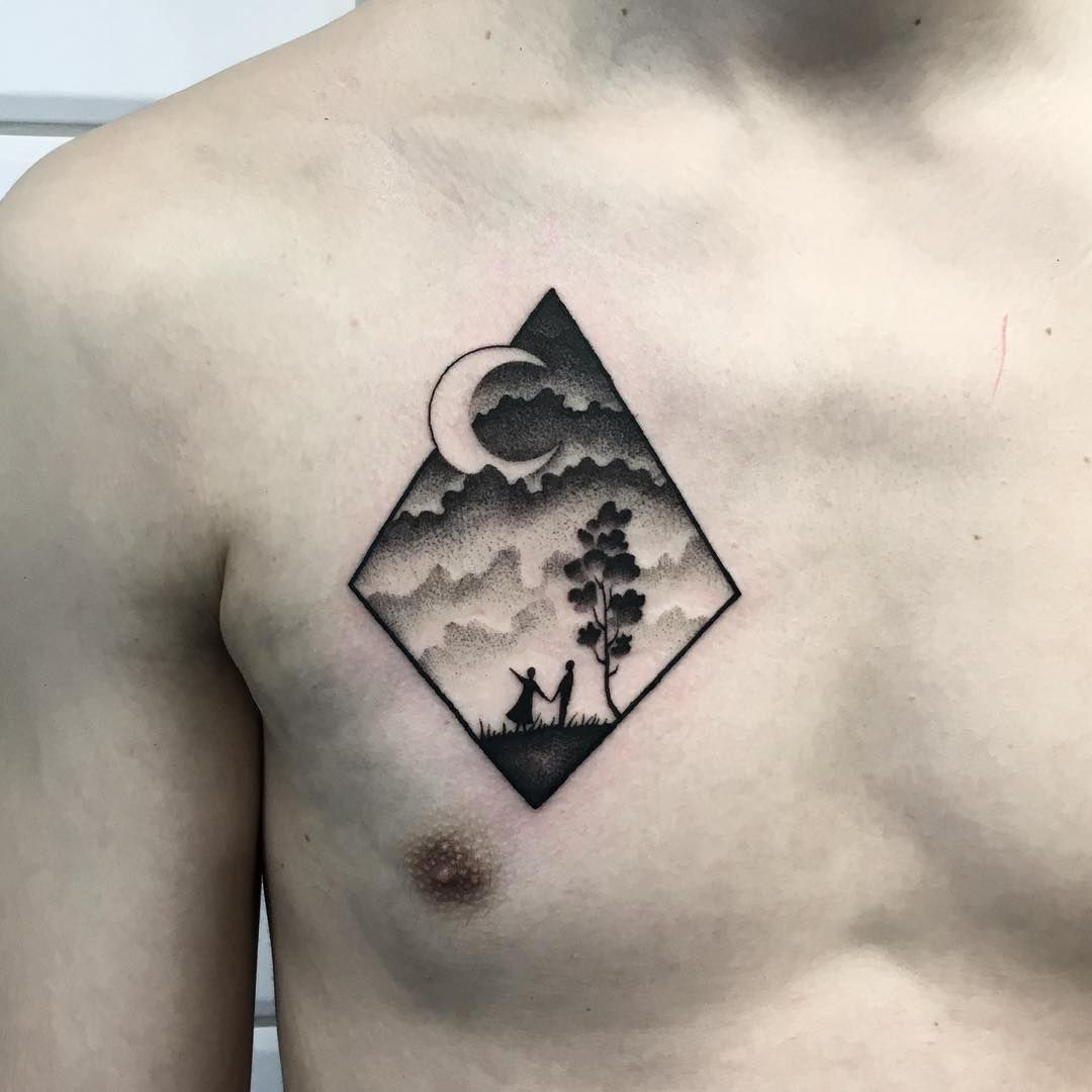 Cloudy Landscape Tattoo Inked On The Right Side Of The Chest Tattoos For Guys Landscape Tattoo Tattoos