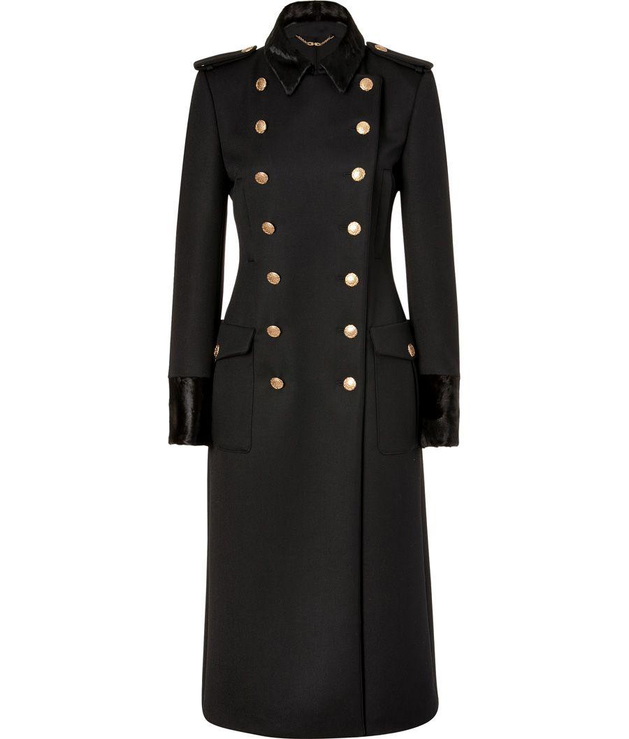 Coat Fur Black Salvatore Breasted Wool Trim Ferragamo With Double x0WXzUq