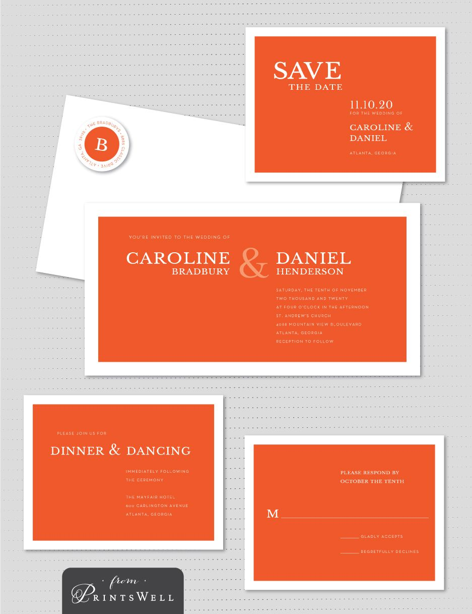 Stacy Claire Boyd Perfectly Simple Minimalist Orange Bold Wedding ...