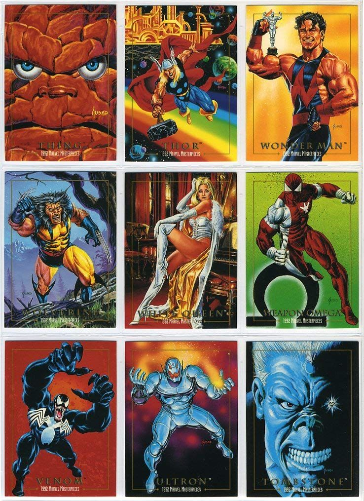 2e9e2c5aaaf Amazon.com  1992 SkyBox Marvel Masterpieces Series-1 New 100-Card Complete  Base Set Plus 5-Card Spectra Foil Chase Set in Collector Pages  Everything  Else