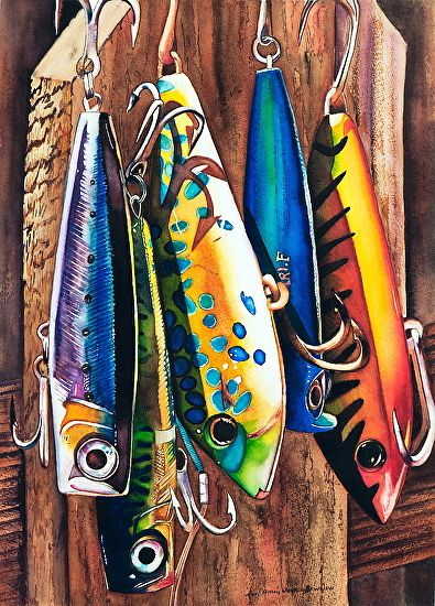 Fishing Lures Watercolor Original Painting By Limezinniasdesign